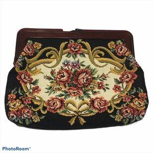 Vintage Tapestry Clutch change purse Kiss Lock